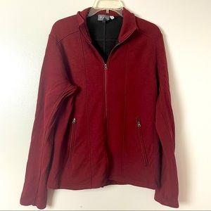 Ibex Zip Up Jacket Wool Blend Burgundy M